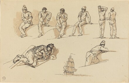 Eight Studies of Figures and a Ship at Sea