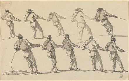 Ten Men Pulling on Ropes