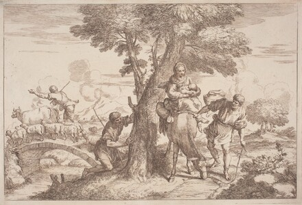 The Flight into Egypt with a Shepherd Watching from Behind a Tree