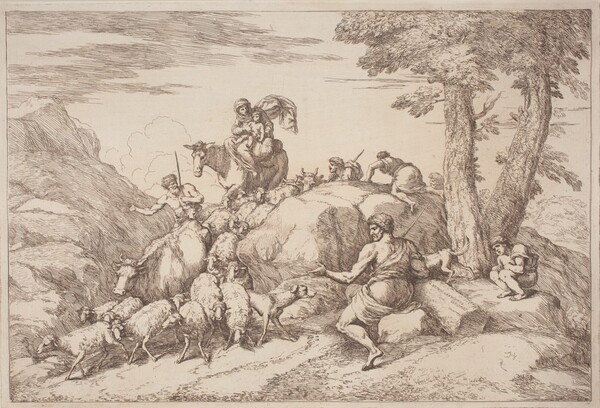 A Pastoral Journey with a Mother and Child on Horesback and an Elderly Shepherd Seated