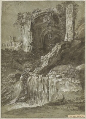 A Waterfall with Ruins (verso)