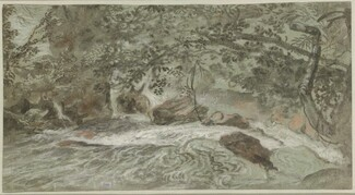 Rapids with Overhanging Branches (verso)