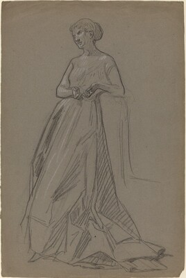 Standing Woman Leaning on Her Elbow