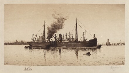 Untitled (Steamship In Boston Harbor)