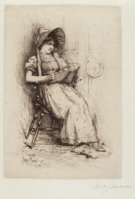 Untitled (Young Girl With Hat, In Chair, Reading)