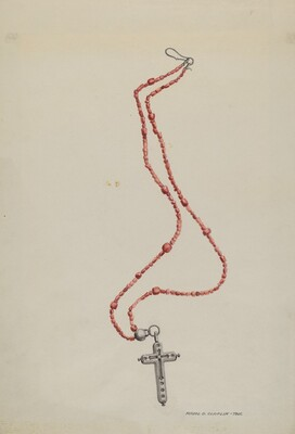 Coral Beads and Crucifix
