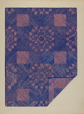 Piece of a Coverlet - Cobalt Blue & Rose