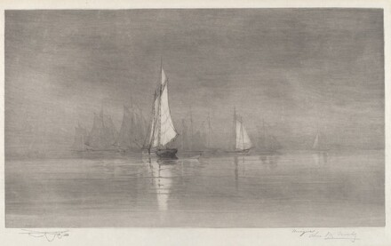 Untitled (Harbor Scene with Sailboats)