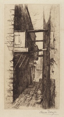 Untitled (Alleyway with View of a Harbor)