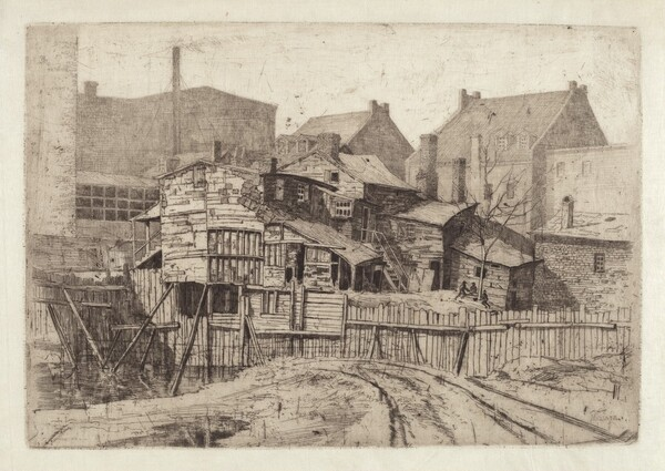 Untitled (Wooden House in City)