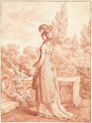 A Fashionable Woman Standing in a Park