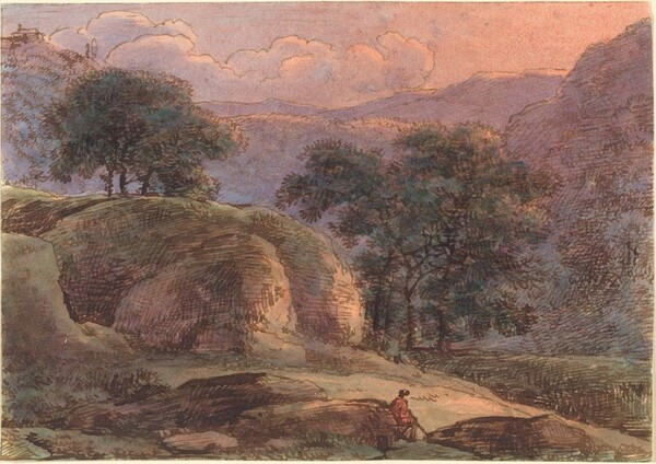 Traveler in a Mountainous Landscape at Sunset