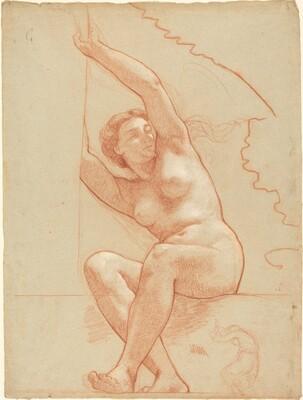 A Female Nude Seated on a Ledge
