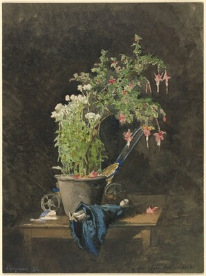 A Potted Fuchsia with Children's Toys