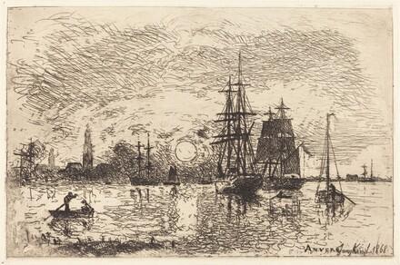 Soleil couchant, port d'Anvers (Sunset, Port of Antwerp)