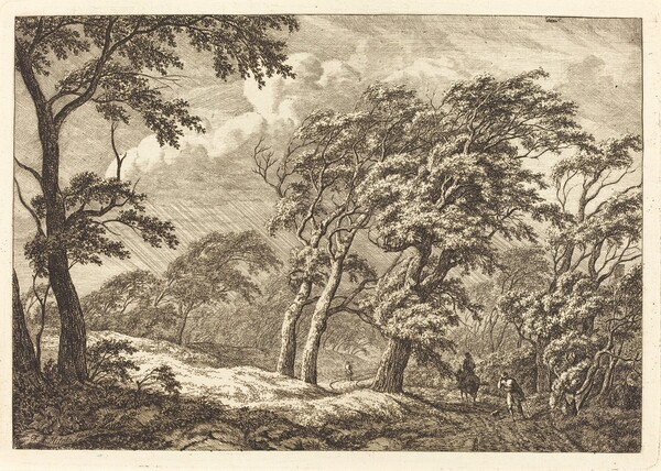 Travelers on a Forest Road in a Storm
