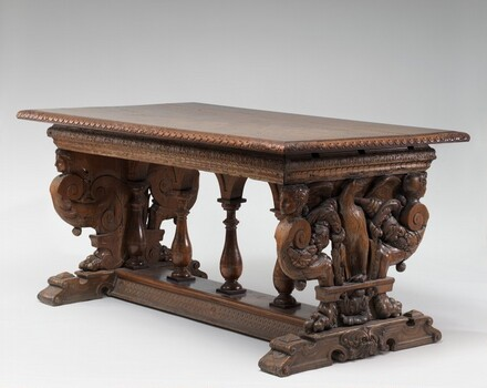Walnut Table with Eagles on the Supports