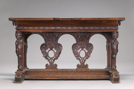 Walnut Table with Herms and Sphinxes at the Ends