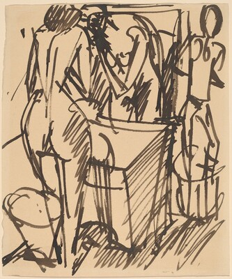 Nude with a Mirror, Standing Before a Washstand