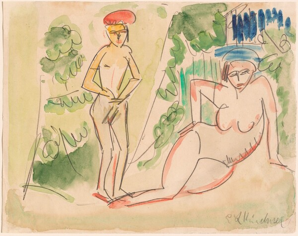 Two Bathers near the Woods