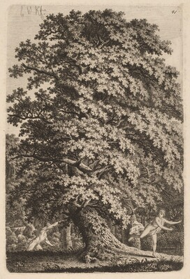 A Large Oak Tree in Gehölz. A Young Man with a Spear Follows a Young Girl.