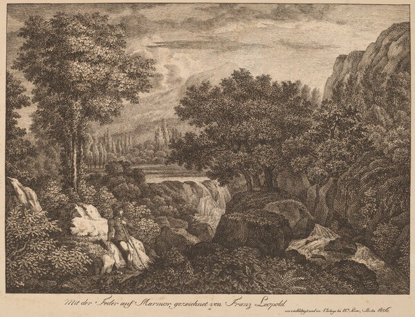 Resting Travelers in a Mountainous Landscape
