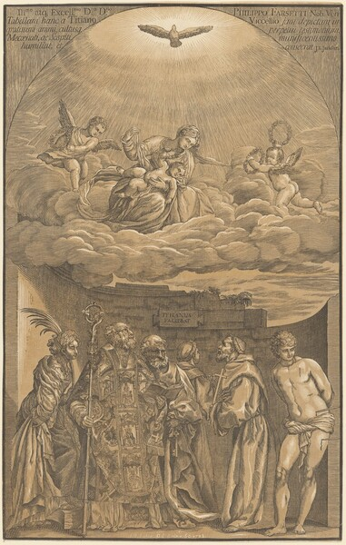 The Virgin and Child in the Clouds with Six Saints