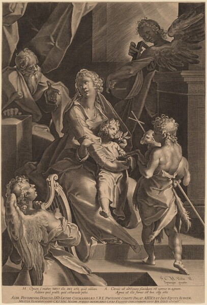 The Holy Family and Two Angels