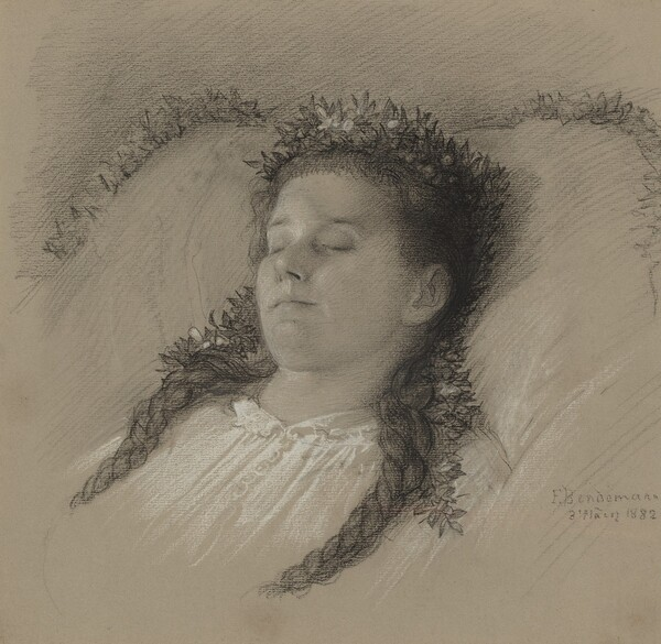 A Girl on Her Deathbed with a Crown of Flowers