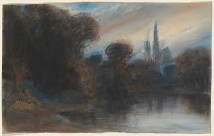 An Abbey by a Wooded Lake at Twilight