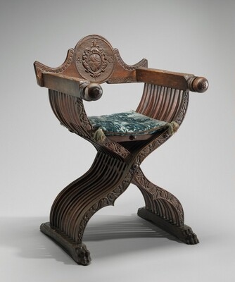 Walnut Savonarola Chair with Letters A.G.