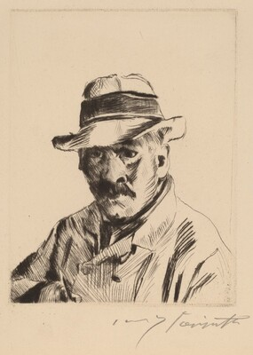 Self-Portrait in a Straw Hat, Bust Length