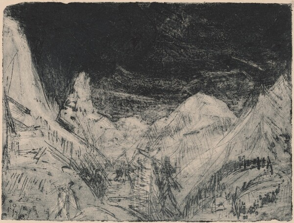 Mountain Landscape with Little Mowers