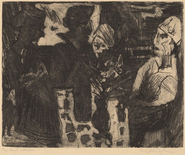 Women at a Table in a Room (recto) / Nude Woman (verso)