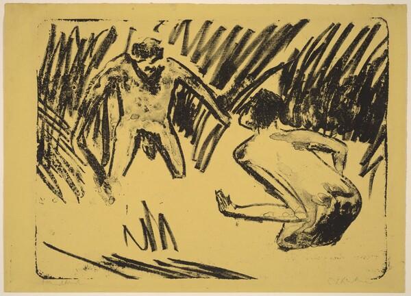 Men Splashing in the Reeds