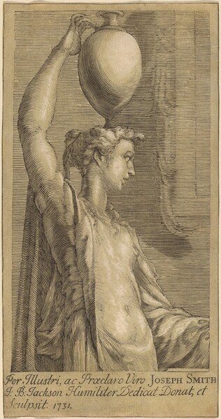 Woman Standing Holding a Jar on the Head