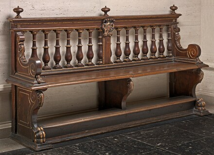 Walnut Bench with Balustraded Back