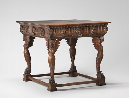 Square Table with Legs Carved as Winged Figures