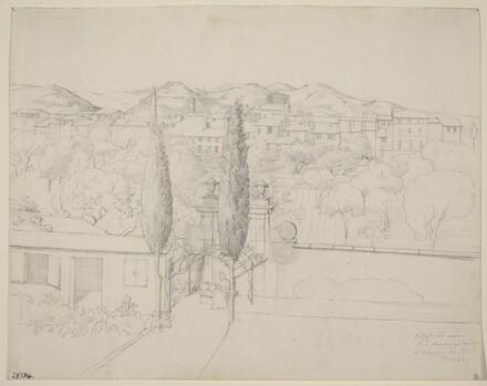 Aussicht aus meinem Fenster, via valfonda in Florenz (Gardens in Florence Seen from the Artist's Window)