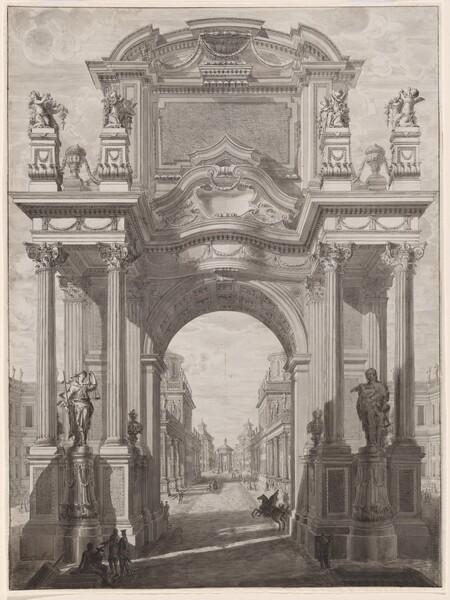 An Architectural Capriccio with a Triumphal Arch