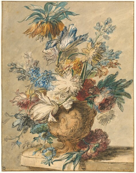 Bouquet of Spring Flowers in a Terracotta Vase
