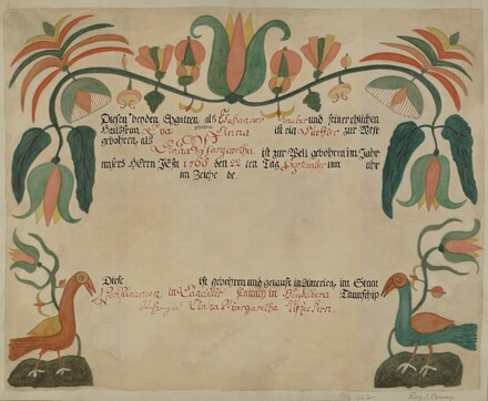 Pa. German Birth and Baptismal Certificate