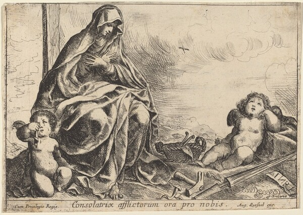 Virgin Bowing to Instruments of the Passion