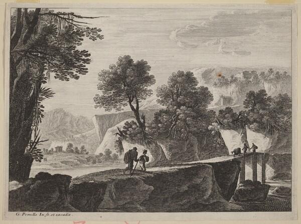 Travelers Approaching a Bridge