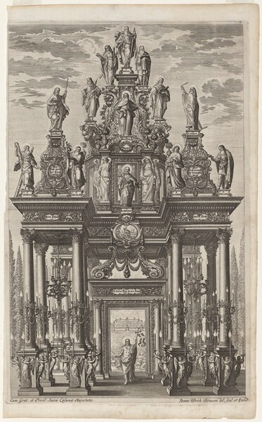 Frontispiece with Triumphal Arch with Christ and the Apostles