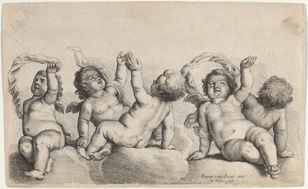 Three Cherubs and Two Boys Each Raising One Arm on Clouds