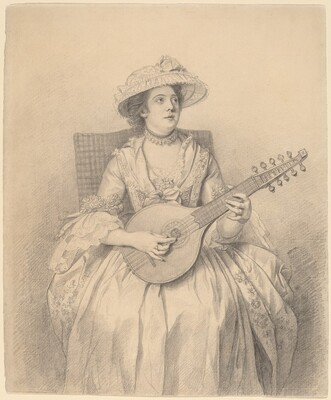 An Elegant Lady Playing a Cittern