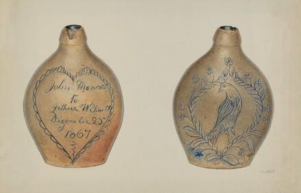 Pa. German Stoneware Flask