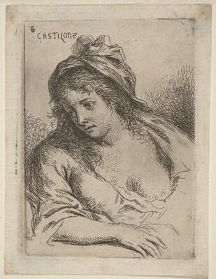 Half-Length Figure of a Woman Looking Sideward