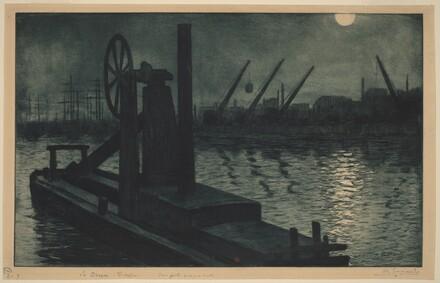 La Drague Dieppe (A Dredger in Dieppe Harbor by Moonlight)